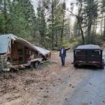 Preparing dumped trailer for removal